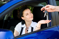 in her new car Auto Loan Tips for College Students